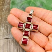 Red Jasper Cross 925 Solid Sterling Silver Pendant Jewelry From Taxco Mexico