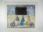 Paula Mcardle Painting 3 People On A Tandem Bicycle Three Person Bike Signed Art