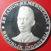 1970 Indonesia 1000 Rupiah Silver Proof General Sudirman Independence Rare 55mm