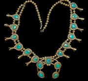 Signed J R Turquoise And Sterling Silver Squash Blossom Necklace