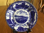 Antique 1890and039s Flow Blue Souvenir China Plate Atlantic City Nj Made In England