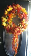Fall Thanksgiving Autumn Large Wreath Bright Orange Yellow Red Fall Colors