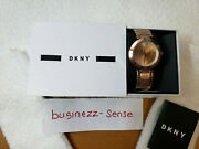 Dkny Women's Ny2287 Stanhope Rose Gold-tone Stainless Steel Watch Nwt