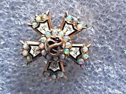 Antique 1912 14k Solid Gold Opal Sigma Nu Fraternity Pin Badge Stanford