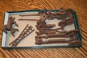 Vintage Lot Cast Iron Horses Pulling Fire Pumper Wagon Toy And Ladder Wagon