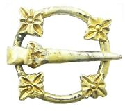 13th Century A.d. Medieval Silver-gilt Decorated Ring-brooch