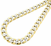 10k Yellow Gold Chiseled Cuban Curb Chain D/c Pave 10.75 Mm Necklace 22-30