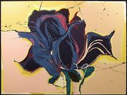 Sally Anderson Blue Rose Hand Signed Lithograph Art Print Floral 1980s