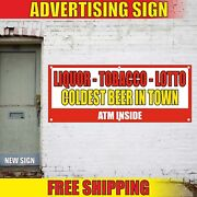 Liquor Tobacco Banner Advertising Vinyl Sign Flag Lotto Coldest Beer In Town Atm