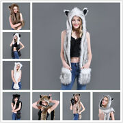Plush Faux Fur Womens Mens Animal Winter Warm Hat With Long Mittens Beanie Scarf