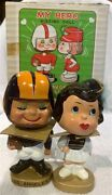 1960and039s Bobble Head Nodder Los Angeles Rams Kissing Pair As Issued In Box