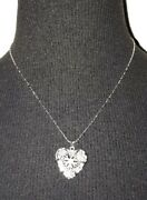 Silver Tone Heart Locket Necklace Essential Oil Aromatherapy Diffuser Chain N39