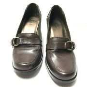 Bass Savvy Pump Brown Leather Double Ring Slip On Block Heel Shoe Size 6.5 M Us