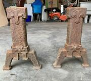 Vintage Cast Iron Fireplace Andirons Gothic Two-piece