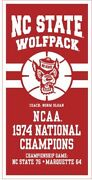 Nc State Wolfpack 1974 Ncaa National Championship Basketball Banner