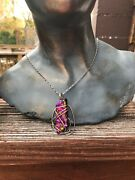 Vintage Sterling Silver Dichroic Art Glass Pendant Necklace - Free Shipping