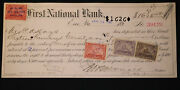 Obsolete Bank Check First National Bank Erie Pennsylvania Pa 1899 W/ Stamps
