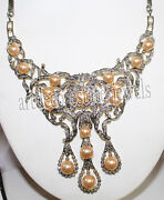 10.50cts Rose Cut Diamond Pearl Antique Victorian Look 925 Silver Necklace
