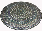 48 Black Marble Dining Table Top Inlay Pietra Dura Work Home Furniture