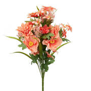 Factory Direct Craft Coral Artificial Poppy And Heather Bush