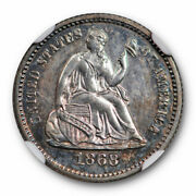 1868 Seated Liberty Half Dime Ngc Pf 62 Toned Tough Date Low Mintage