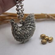 Pure 925 Sterling Silver Pendant Lovely Hen Pendant 27mm H Rolo Chain