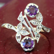 0.36ct Rose Cut Diamond Amethyst Antique Victorian Look Silver Cocktail Ring
