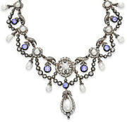 11.50ct Rose Cut Diamond Pearl Sapphire Antique Victorian Look Silver Necklace
