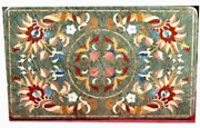 48 X 36 Green Marble Table Top Semi Precious Stones Floral Inlay Art Work