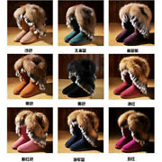 Womens Combat Boots Winter Wear Fox Fur Tassels Snow Synthetic Large Size New