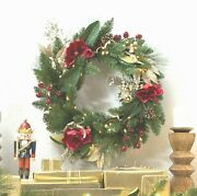Belham Living Red Magnolia 24 In. Pre-lit Battery Operated Wreath Magnolia