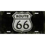 Route 66 Black And White Logo Metal License Plate Made In Usa