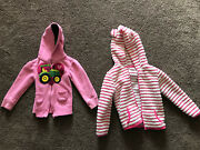 2 Kids Girls 3t And 4t Pink Jackets John Deere Tractor And Pink White Ears
