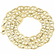 Real 10k Yellow Gold Solid Flat Mariner Chain 7.50mm Necklace Plain 22-30 Inches