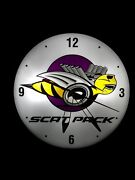 Mopar Scat Pack Vintage Pam Style Electric Wall Clock--- Oil Gas Signs
