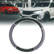 Black Faux Leather Carbon Fiber Pattern Car Steering Wheel Cover Protector