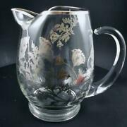 Sterling Silver Overlay On Clear Glass Floral Pitcher Ice Lip 28 Oz Vintage