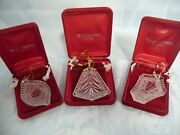 3 Waterford Christmas Tree Ornaments - Original Boxes Ornament Tree And Lantern