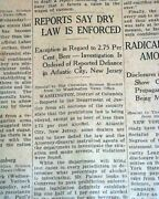 United States Prohibition 1st Stage Taking Effect Beer Liquor 1919 Old Newspaper