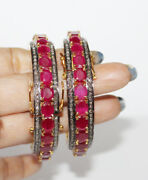 7.85ct Rose Cut Diamond Ruby Antique Victorian Look 925 Silver Bangle Pair