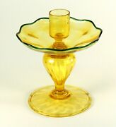 Antique 1800and039s Venetian Glass Candle Holder Amber Yellow Rare Murano Italy