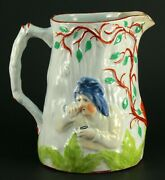 Rare Antique C.1800 J.b. Cappellemann Faience Pitcher - Snuffer And Pipe Smoker