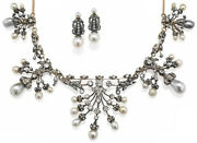 12.70ct Rose Cut Diamond Pearl Antique Victorian 925 Silver Earring Necklace Set