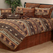 3-10 Pc Wildlife And Game Rustic Cabin Lodge Bedding Set Jackson Hole Add Pillows