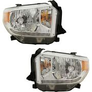 Headlight Set For 2014-2017 Toyota Tundra Left And Right With Bulb 2pc