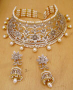 14.16ct Rose Cut Diamond Pearl Victorian Look 925 Silver Earring Necklace Set