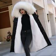 Women Long Faux Rabbit Fur Lining Parkas Hooded Fur Collar Thick Outdoor Outwear
