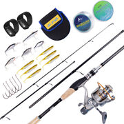 Spinning Fishing Rod And Reel Combo W/ Kit 11bb 5.11 Hooks Saltwater Bass Trout