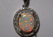 1.65 Ct Red And Blue Pinfire Pattern Opal And Diamond Pendant 14k White Gold