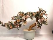 Vintage Mid Century Asian Floral Glass Tree In Planter Bonsai
